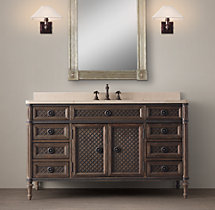 Louis XVI Treillage Extra-Wide Single Vanity Sink