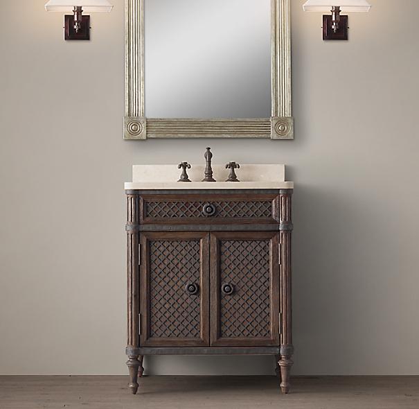 Powder Room Bathroom Vanities: Louis XVI Treillage Powder Room Vanity