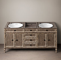 Louis XVI Treillage Double Vanity Sink Base