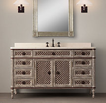 Louis XVI Treillage Extra-Wide Single Vanity