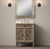 Louis XVI Treillage Powder Room Vanity