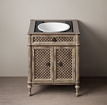 Louis XVI Treillage Powder Room Vanity Base