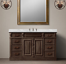 19th C. French Carved Door Extra-Wide Single Vanity