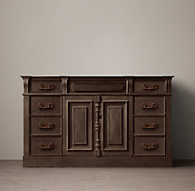 19th C. French Carved Door Extra-Wide Single Vanity Base