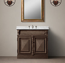 19th C. French Carved Door Single Vanity Sink