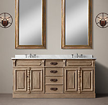 19th C. French Carved Door Double Vanity Sink
