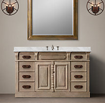 19th C. French Carved Door Extra-Wide Single Vanity Sink