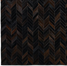Chevron Cowhide Rug Swatch - Charcoal