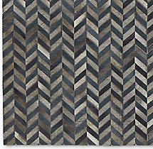 Chevron Cowhide Rug Swatch - Blue Grey