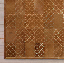 Etched Scallop Cowhide Rug Swatch - Caramel