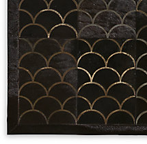 Etched Scallop Cowhide Rug Swatch - Black
