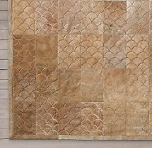 Etched Scallop Cowhide Rug Swatch - Sand