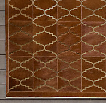 Etched Moroccan Tile Cowhide Rug Swatch - Caramel