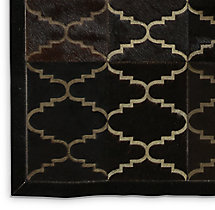 Etched Moroccan Tile Cowhide Rug Swatch - Chocolate