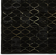 Etched Moroccan Tile Cowhide Rug Swatch - Black
