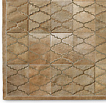 Etched Moroccan Tile Cowhide Rug Swatch - Sand