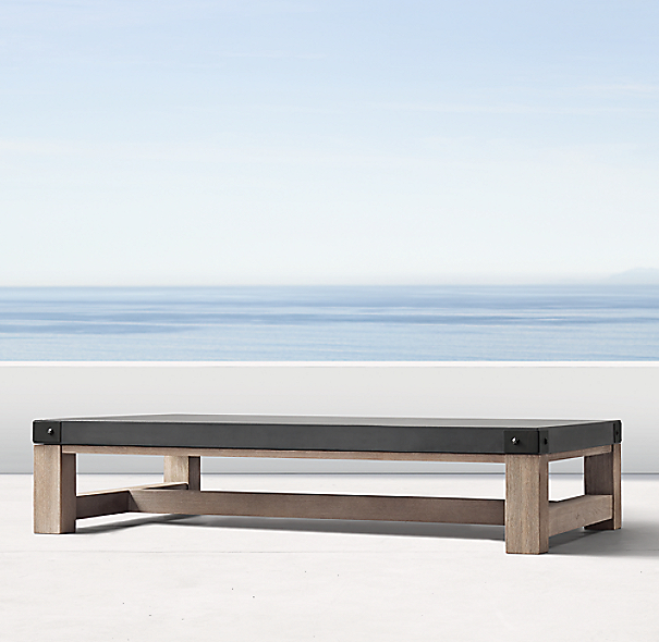 Rh French Beam Coffee Table: French Beam Concrete & Teak Coffee Table
