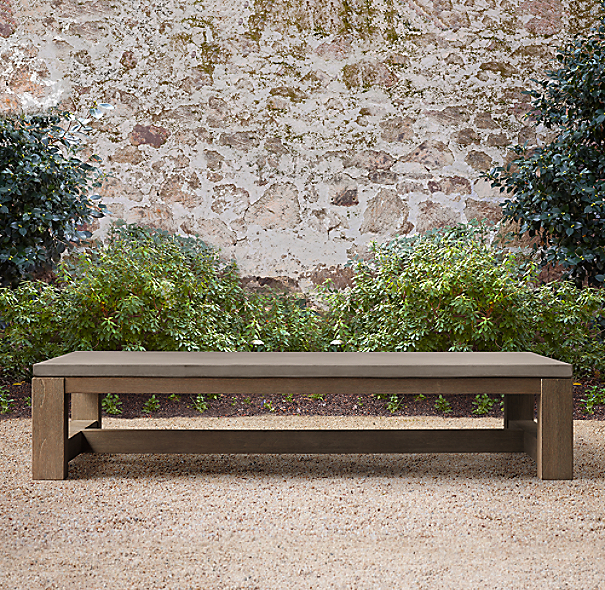 Rh French Beam Coffee Table: French Beam Weathered Concrete & Teak Coffee Table