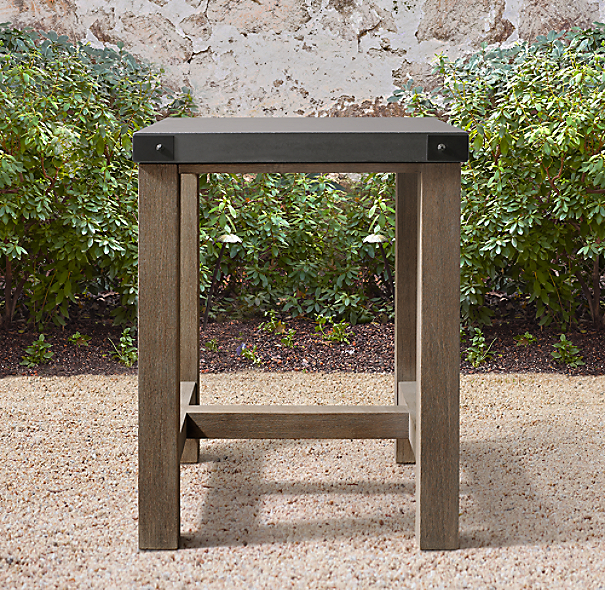 Rh French Beam Coffee Table: French Beam Concrete & Teak Bar Table