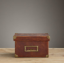 Distressed Leather Media Box Brown