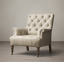 19th C. Tufted Roll Arm Upholstered Chair