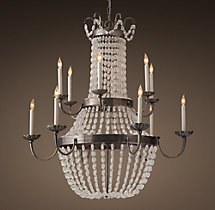 Marché French Empire Glass Two-Tier Chandelier 44""