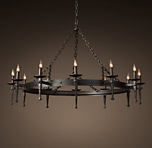 Circa 1920 Spanish Torch Round Chandelier 47""