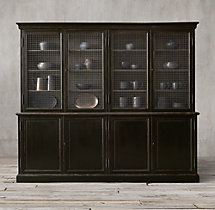 19th C. English Notary 4-Door Sideboard & Mesh Hutch