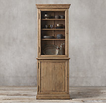 19th C. English Notary Single-Door Sideboard & Mesh Hutch