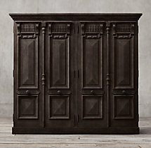 19th C. French Carved Door Panel 4-Door Cabinet