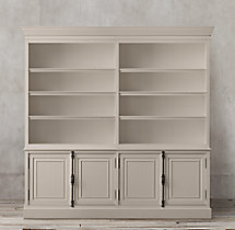 French Panel 4-Door Sideboard & Open Hutch
