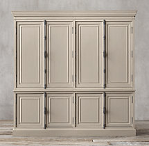 French Panel 4-Door Sideboard & Closed Hutch