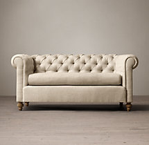 7' 19th C. Chesterfield Upholstered Sofa