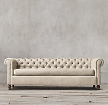 9' 19th C. Chesterfield Upholstered Sofa