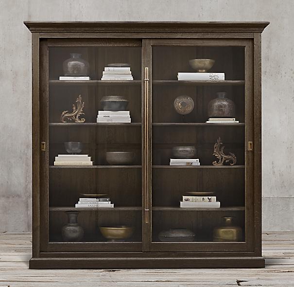 20th C English Brass Bar Slider Glass Double Door Cabinet