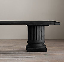 Salvaged Wood Architectural Column Rectangular Extension Dining Table