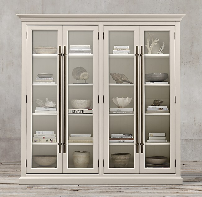 20th C English Brass Bar Pull Glass 4 Door Cabinet