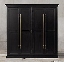 20th C. English Brass Bar Pull Panel 4-Door Cabinet