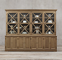 French Neoclassical 4-Door Sideboard & Glass Hutch