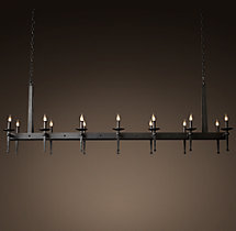 Circa 1920 Spanish Torch Rectangular Chandelier 75""