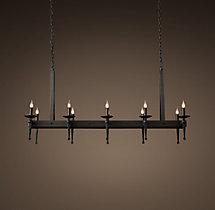 Circa 1920 Spanish Torch Rectangular Chandelier 51""