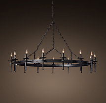 Circa 1920 Spanish Torch Round Chandelier 59""