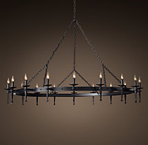 Circa 1920 Spanish Torch Round Chandelier 71""