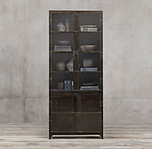 Industrial Tool Chest Glass Double-Door Sideboard & Hutch
