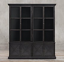 19Th C. Swedish Panel 4-Door Sideboard & Glass Hutch