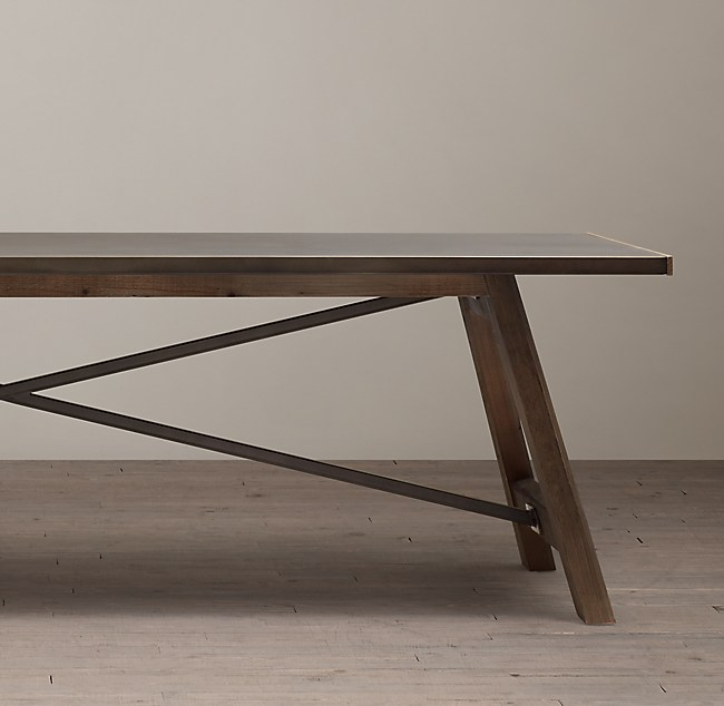Zinc Top Railway Trestle Rectangular Dining Table