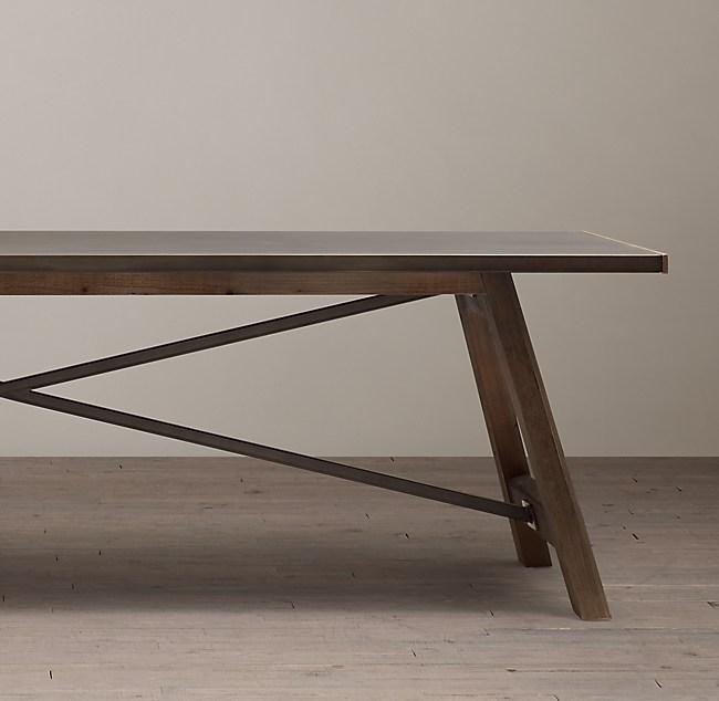 ZincTop Railway Trestle Rectangular Dining Table - Restoration hardware zinc table