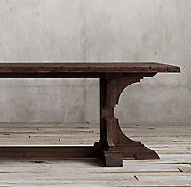 20th C. Reclaimed Pine Trestle Rectangular Dining Table