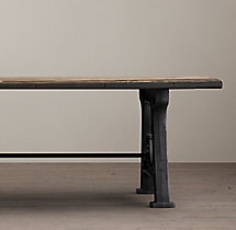 Factory Trestle Rectangular Dining Table
