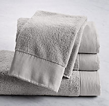 Linen-Bordered Turkish Cotton Towels- Hand Towel - Cool Grey